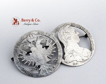 SaLe! sALe! Antique Cut Out Coin Brooch Coin Silver
