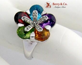 Multi Colored Gem Flower Ring Sterling Silver