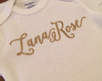 Gold Glitter Personalized Name Onesie for Girls