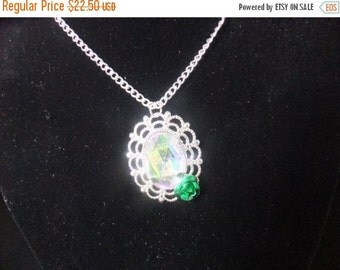 ON SALE Jeweled Necklace with Green Rose