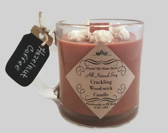 Hazelnut Coffee All Natural Vegan Soy Candle with Cotton or Woodwick and Reusable Mug. Cruelty-Free