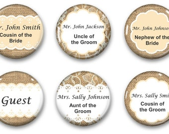 Wedding Seating Magnets - Wedding Favor Magnets - Burlap and Lace Wedding Seating Magnet - Personalized Burlap and Lace Magnets