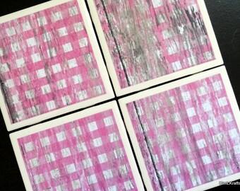Pink Checkered Coasters, Ceramic Coasters, Pink Coasters, Tile Coasters, Drink Coasters, Distressed Wood, Home Decor, Coaster Set of 4