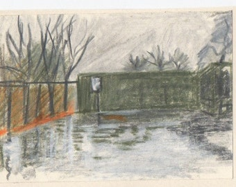 Oil pastel drawing of rain Clissold Park in London