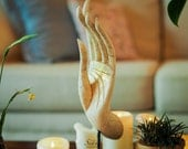 """White With Gold Buddha Mudra Hand """"Gesture Of Protection Or Fearless Mudra Statue. Buddhist Sacred Artefact Feng Shui Home Decor. (17"""" H)"""