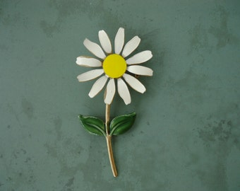 Daisy Enameled Brooch