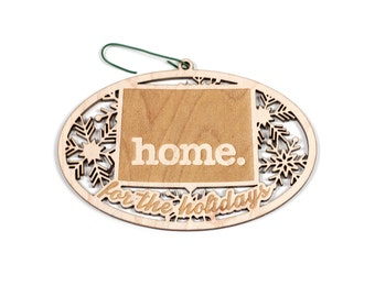 Engraved Wyoming Wood Christmas Ornament