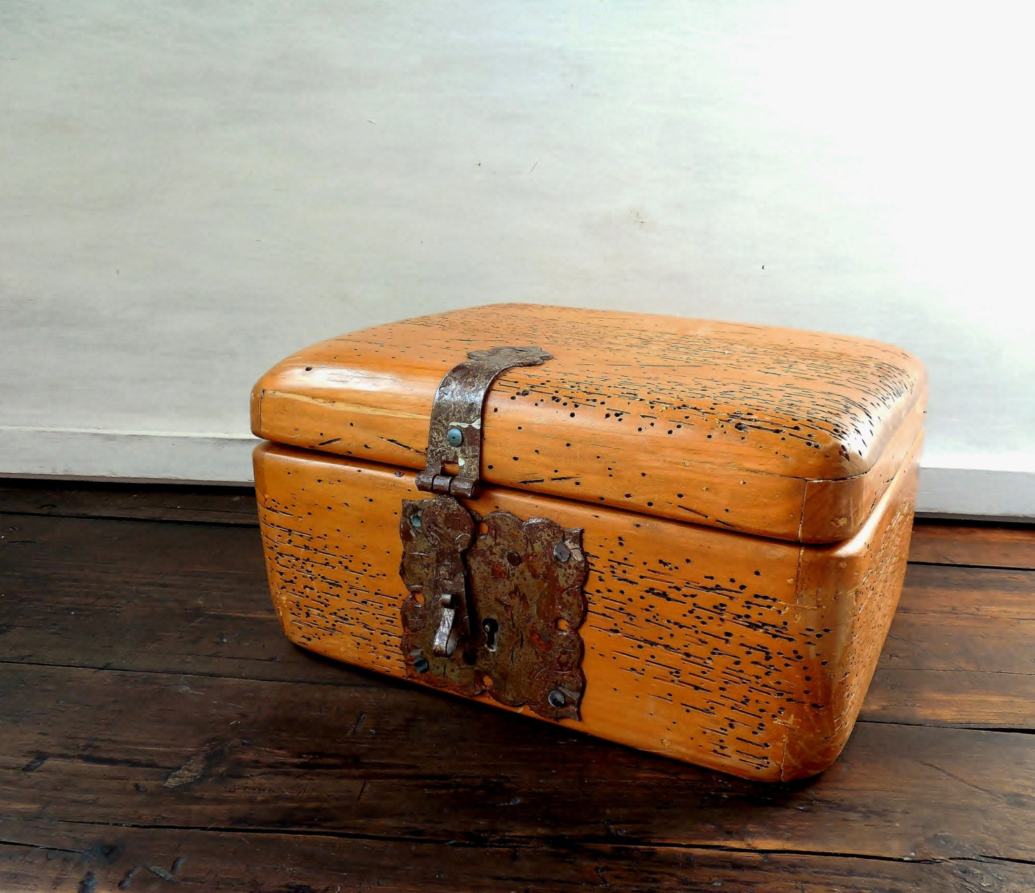Wood chest vintage hinged box unusual strap latch hardware