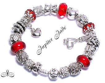 NEW Authentic Pandora 925 Silver Charm Bracelet w European Charms - Love Ruby Red Crystal Hearts B341