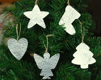 silver christmas decorations 5 handmade primitive cottage chic metal christmas ornaments christmas tree ornaments