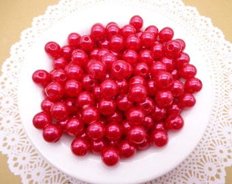 SALE--100pc 8mm Faux Pearl Beads,Red Plastic Beads