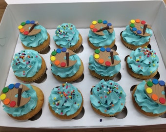 Artist Pallet w/brush fondant cupcake topper