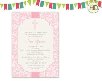 Pink Communion Invitation, 1st Communion Party, First Communion Invitation, Pink Stripe Communion Invitation, Pink Christening Printable