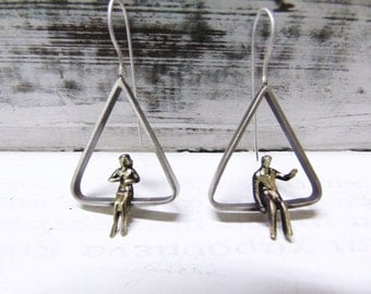 Triangle Minimal Handmade Earrings,Sitting People,Man And A Woman Figures,Sterling Silver Earrings For Her