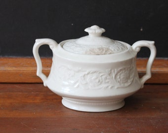 Reserved -Vintage Ironstone Sugar Bowl with Lid