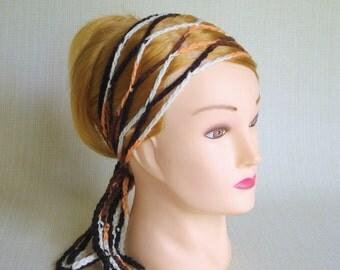 Boho Crochet hair scarf Hippie headband head wrap Gypsy head scarf Womens hair accessory Skinny headscarf Trellis headband Gift for her