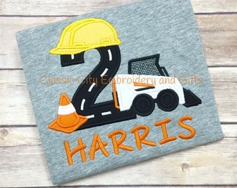 Skid steer shirt,- construction birthday shirt,- construction party,- boy birthday shirt,- skid steer party,- first birthday