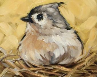 """Tufted Titmouse in nest painting 6x6"""" impressionistic original oil painting, Tufted Titmouse painting, bird art, bird paintings"""
