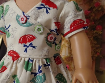 "1930s Style Flour Sack Umbrella  Dress--for 18"" Dolls--Shown on my American Girl Doll Kit"