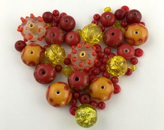 65 glass beads red and yellow mix,5mm to 15mm  #PV099-1