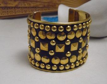 Wide Gold and Black Studded Brass Cuff Bracelet