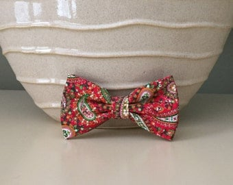 Dog Bow / Bow Tie - Red Green Cream Paisley