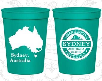 Australia Wedding Cups, Australia Wedding, Personalized Plastic Cups, Destination Wedding, stadium cups, Sydney Cups (155)