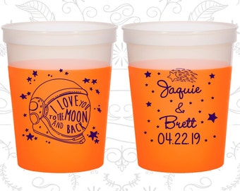 Love you to the moon and back Cups, Customized Mood Cups, Space Helmet, Moon Wedding Favors, Orange Mood Cups (263)