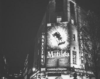 London Photography, London, England, UK, Cambridge Theatre, Matilda, show, London wall art, London decor, London theatre photo