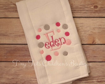 Personalized Baby Girl Burp Cloth -Pink and Gray Embroidered Burp Cloth - Initial Burp Cloth - Name Burp Cloth - Baby Shower - Newborn -Girl