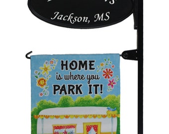 Camping RV Custom Made Park Place Sign W Flag Post And Home Is Where