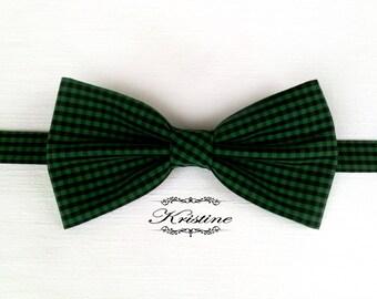 Men's green checkered bow tie  - handmade green plaid bow tie - green and black cotton bow tie gift