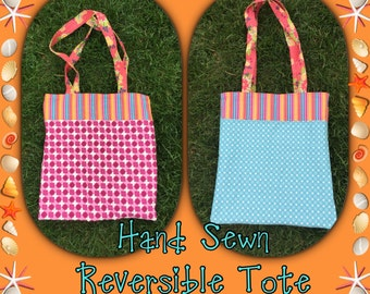 Tote, Reversible Tote, Bag, Beach Bag, Hand Made, Hand Sewn, Sewn Bag, SALE, CLEARANCE ITEM