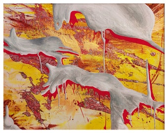 Original Art Print, Modern Art Print, Psychedelic Artwork, Sacred Geometry Painting, Graffiti on Canvas, Splash Painting