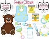 Lil Baby Stuff Boys Clip Art - CU, Cu4Cu, Reseller, Digital Clipart, Instant Download - Toy, Baby Food, Pacifier, Bottle, Bib, Rattle, Bear