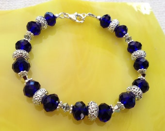 Blue & Silver Crystal Sterling Silver Bracelet (B20)
