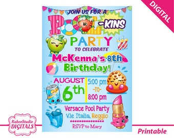 DIGITAL Pool Shopkins Birthday Party invitation - PRINT yourself - File sent via email - NOT being sent in the post