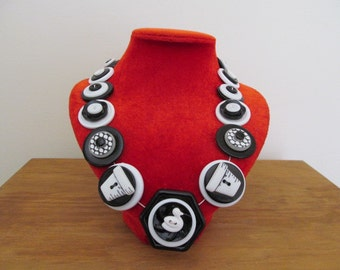 Button Necklace Black and White Button Necklace Button Necklace, Quirky, Kawaii Necklace