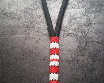 Native American Beaded Keychain, Wristlet, Black, Red, White