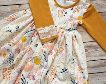 Long sleeve boutique dress - mustard dress - fall floral dress - mixed print dress - family picture dress - back to school dress
