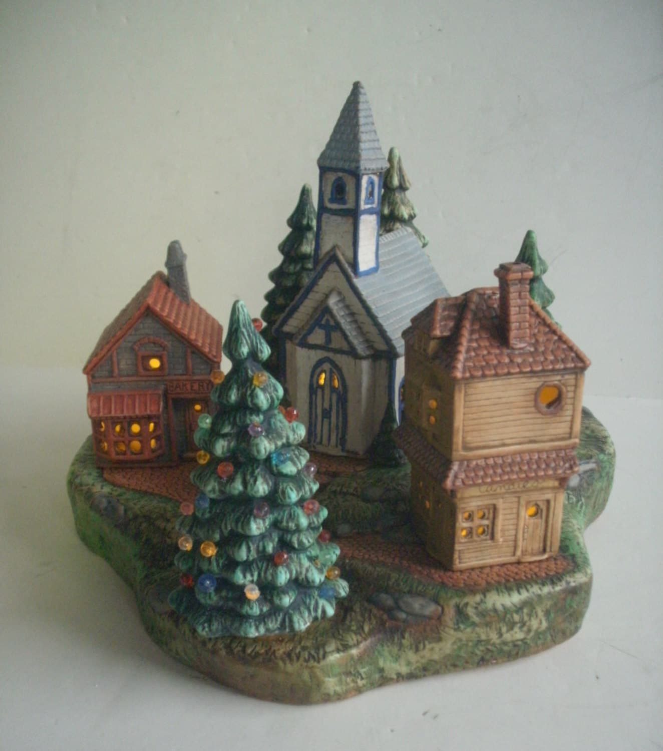 Painting Church In Snow Religious Christmas Ceramic: Christmas Decoration Ceramic Christmas Village Christmas