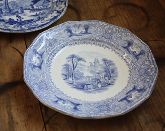 Antique Blue Transferware Plate, Lozere Pattern, Challinor