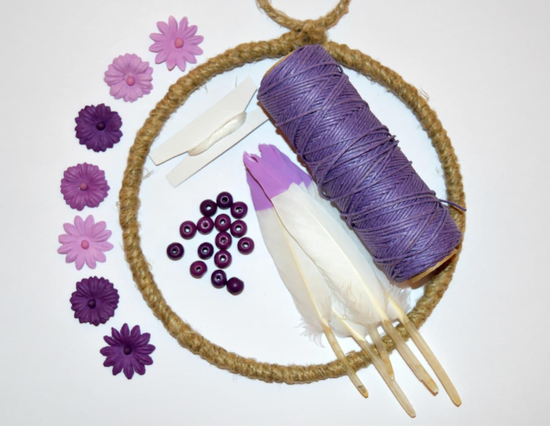 6 inch DIY Dream Catcher Kit PURPLE Floral Dream Catcher