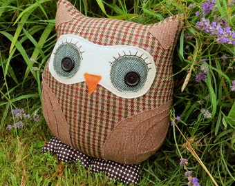 Geoffrey, a tactile tweed owl cushion.  Pure new wool.  35cm tall.