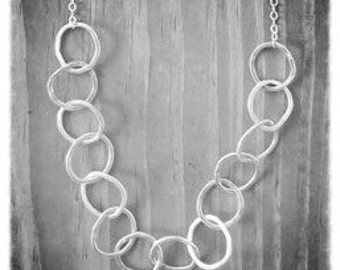 Medium Long Silver Hoop Necklace, Long Necklace, Hammered Silver Hoops, 20""