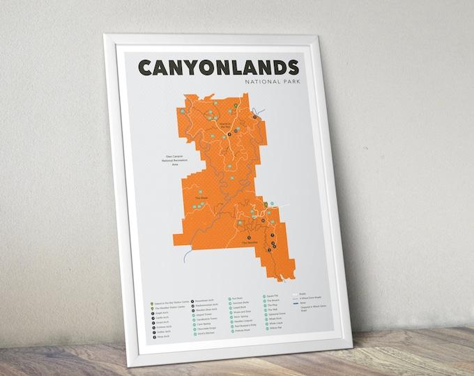 Canyonlands National Park Map, Canyonlands, Outdoors print, Explorer Wall Print