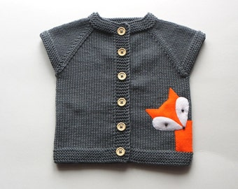 Knit baby fox vest grey merino wool vest with fox soft baby vest MADE TO ORDER
