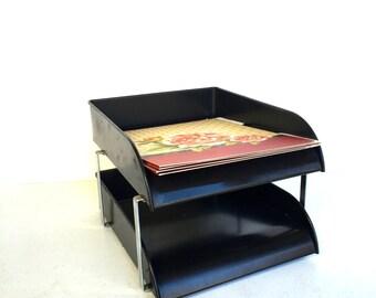 VIntage Black Metal Desk Organizer
