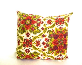 REDUCED......Retro Floral Pillow, Vintage Pink and Green Floral Pillow