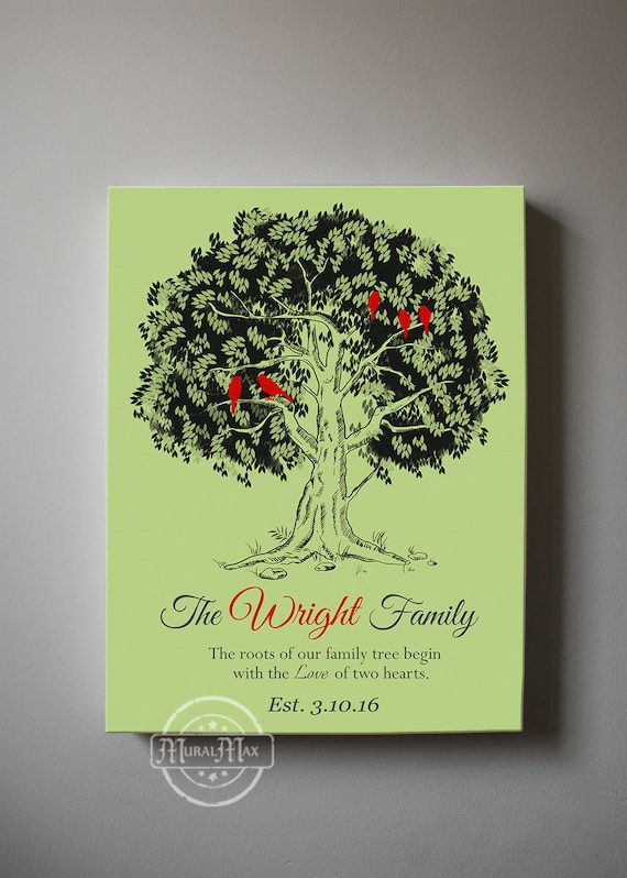 Personalized family tree home decor canvas wall art for Personalized home decor